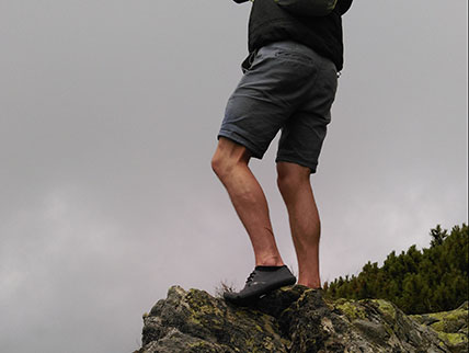Mountain hiking in barefoot shoes