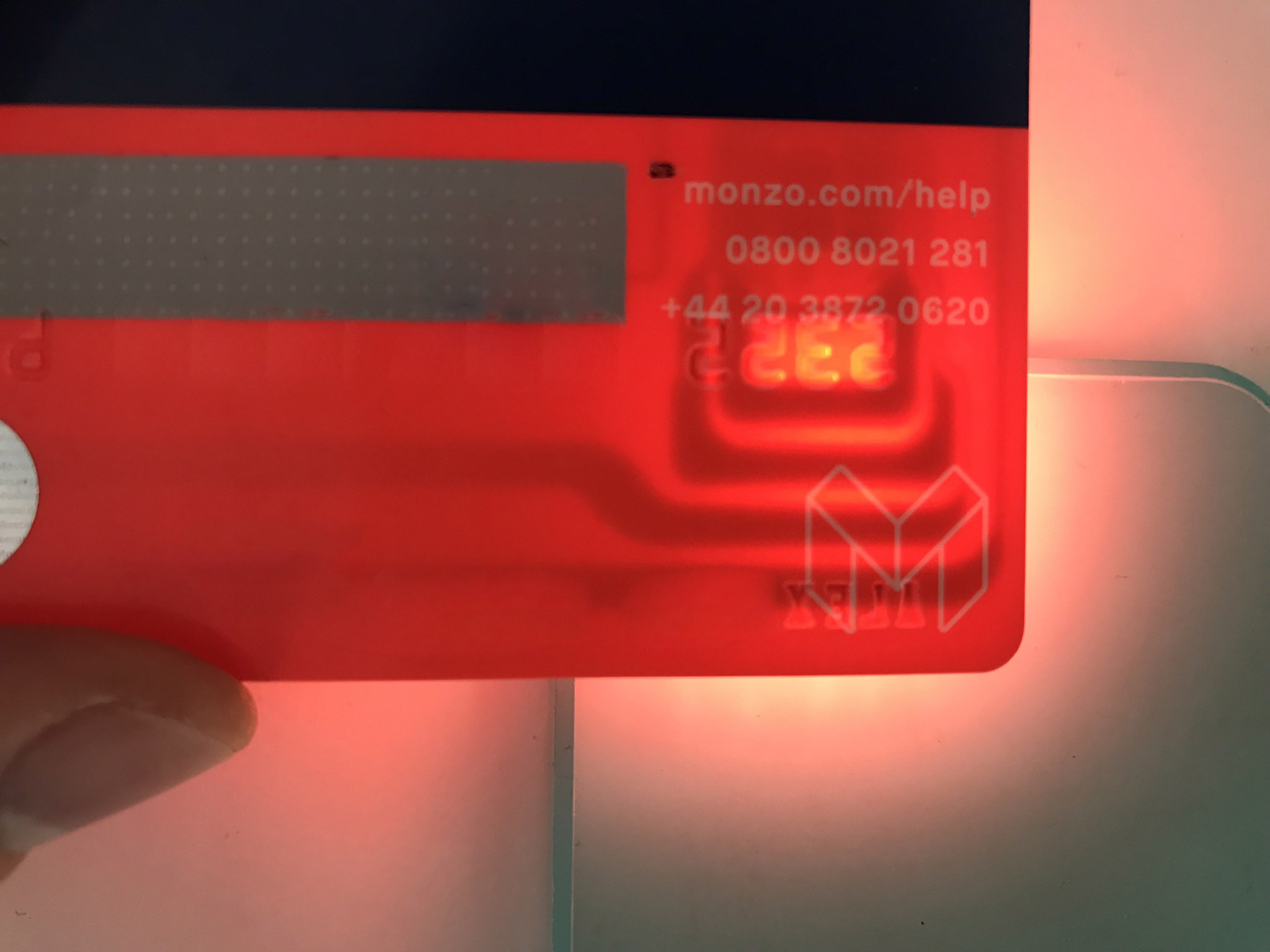 Card light through