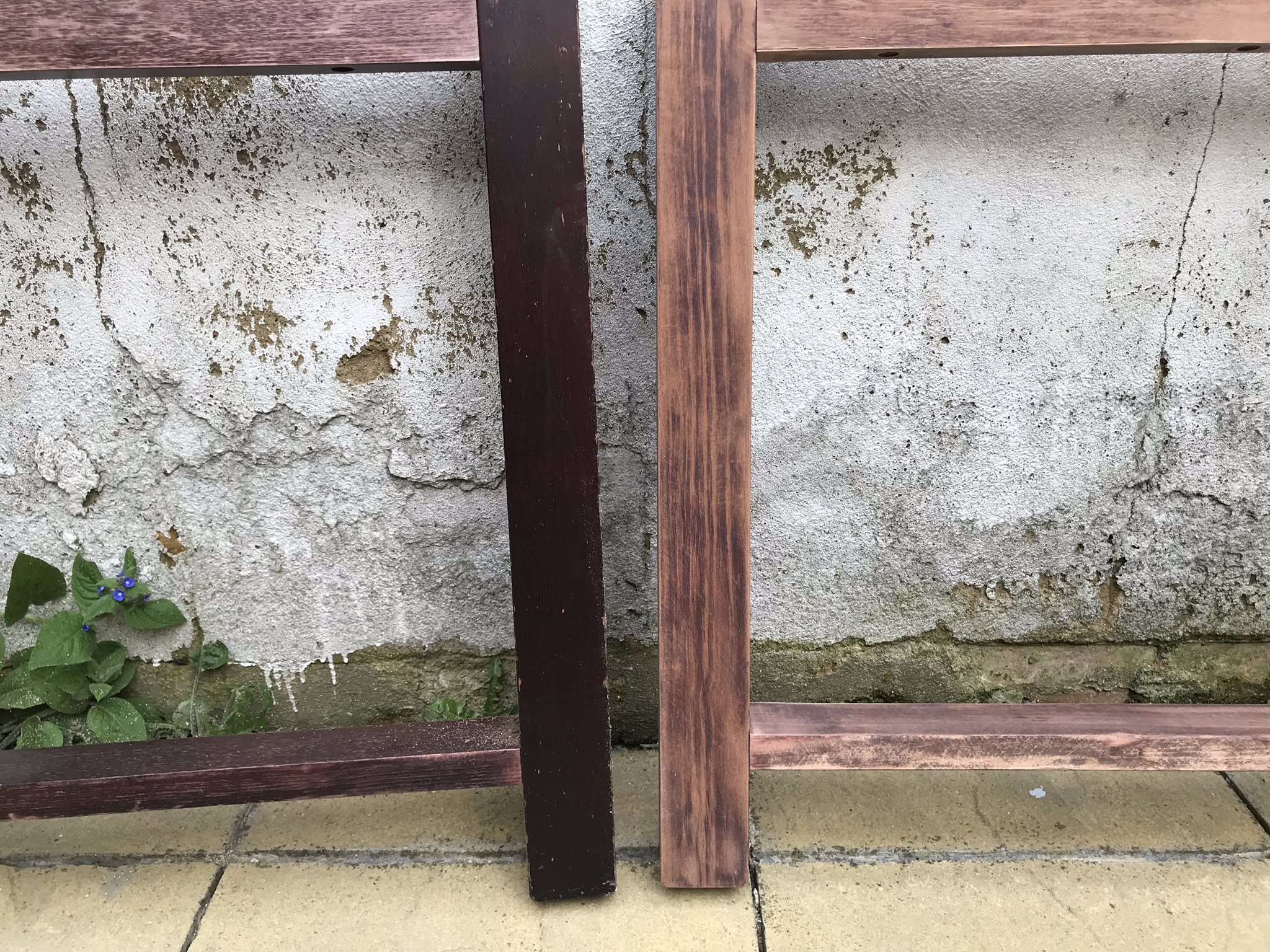 Table legs were slowly stripped of old paint