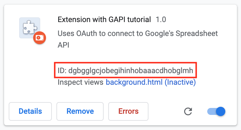 Extension ID in Chrome Extensions Management page