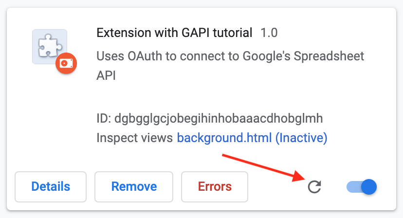 Extension Reload in Chrome Extensions Management page