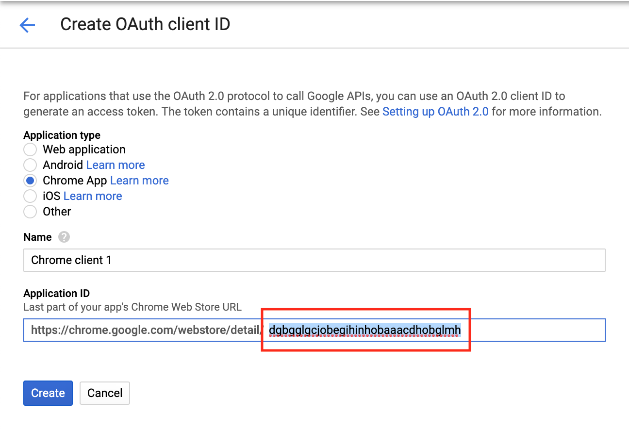 Creating OAuth client ID in Google API console