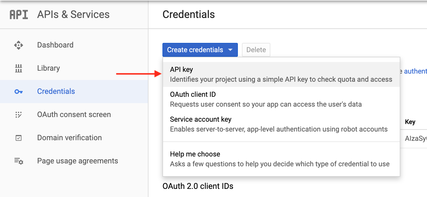 Creating API key in Google API console