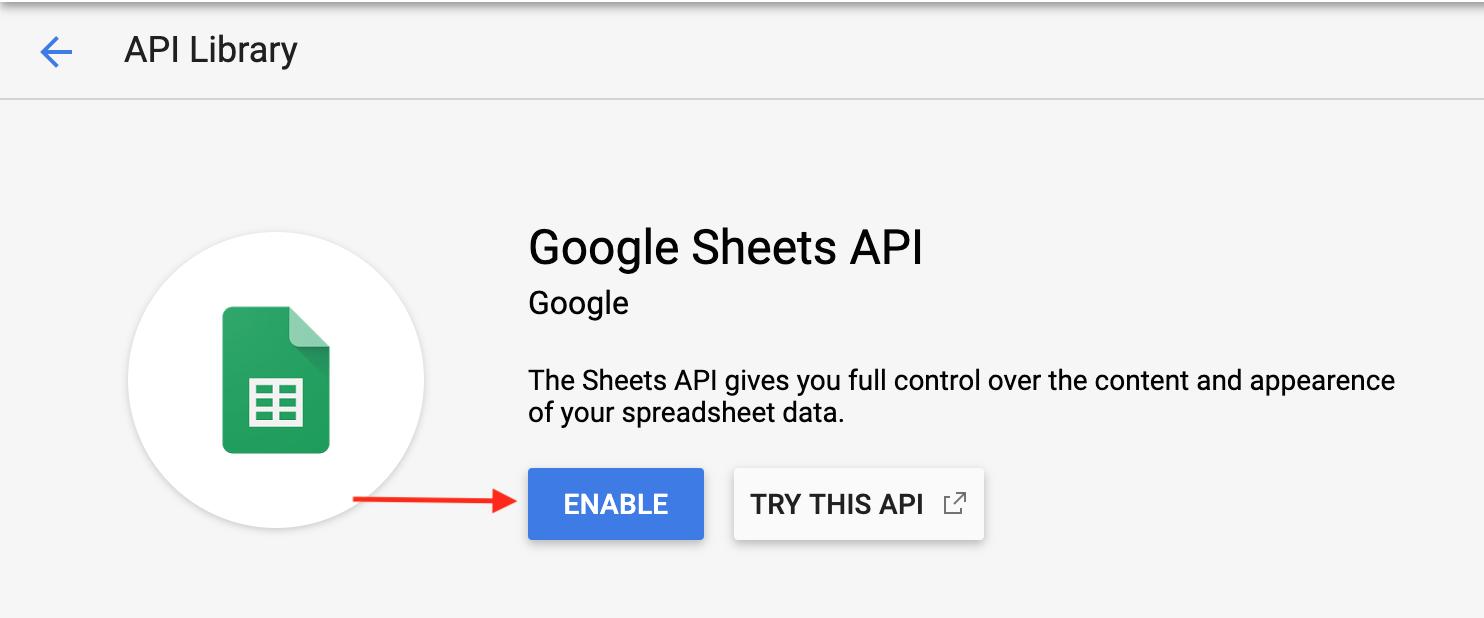 Enabling Google Sheets API in Google API console